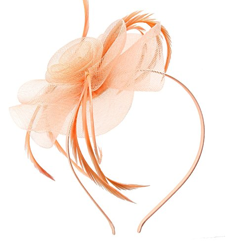Acecharming Fascinators for Women, Feather Sinamay Fascinators with Headbands Tea Party Pillbox Hat Flower Derby Hats(Peach)