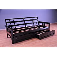 Monterey Futon Sofa in Black Finish with Storage Drawers