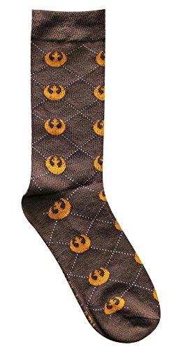 Hyp Star Wars Rebel Argyle Brown/Orange Men's Crew Socks Shoe Size -