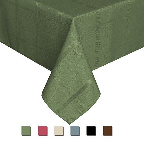 Eforcurtain Holidays Rectangle Classic Plaid Tablecloth Spillproof Polyester Table Cover for Parties (Dark Sage, (Holiday Sage)