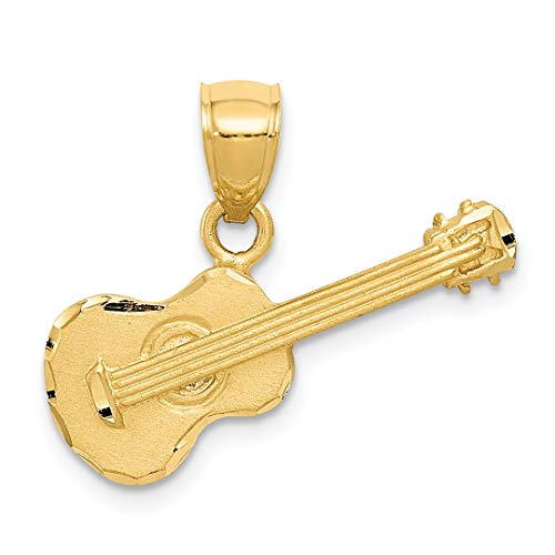 14k Yellow Gold Acoustic Guitar Pendant Charm Necklace Musical Man Fine Jewelry Gift For Dad Mens For ()