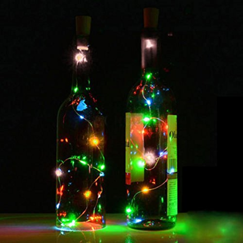 Leegor Solar Wine Waterproof Bottle Cork Shaped String Light 10 LED Night Fairy Light Xmas copper wire Lamp DIY Starry Light for home Bedroom,Patio,Party Decorations (Multicolor)
