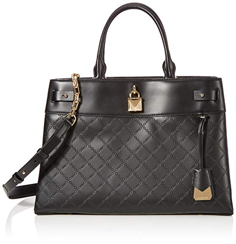 Michael Kors Gramercy Chain Embossed Leather Satchel (Black)