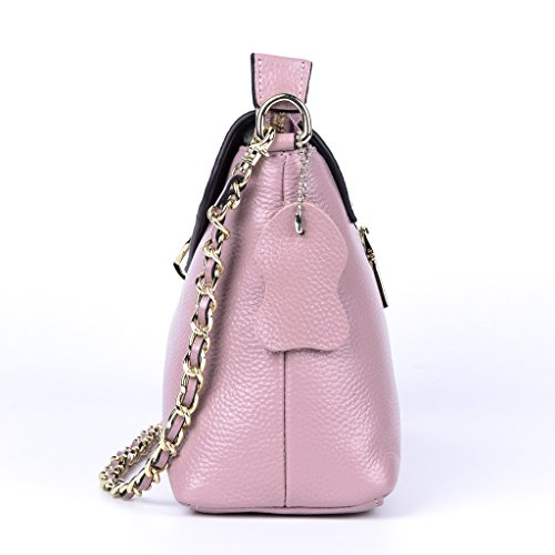 Leather QZUnique Genuine Style Cowhide Bag Handbag Pink European Shoulder Women's qpaTA