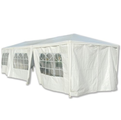 Frugah White 10'x30' White Party Tent Canopy Wedding with 6 Side Walls