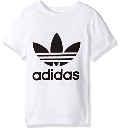 adidas Originals Tops Big Boys Kids Trefoil Tee, White/Black, X-Large