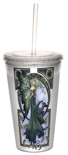 Amy Brown Fantasy Art - Tree-Free Greetings cc33572 Fantasy Green Faerie Artful Traveler Double Walled Cool Cup with Reusable Straw by Amy Brown, 16-Ounce
