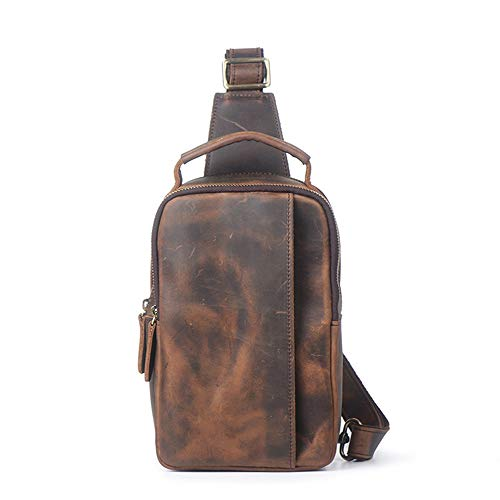 Crossbody Genuine For Hiking Bag Brown color Men's Dark Daypack Sling Camping Chest Shoulder Brown Leather Rdnawq0