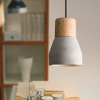 OAKLIGHTING Cement Modern Pendant Light Fixture Wood Ceiling Lamp Vintage Chandelier Lighting Gray