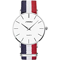 SINOBI Men's Casual Outdoor Sports Quartz Watch with Nylon Band Imported Movement(Blue White Red)
