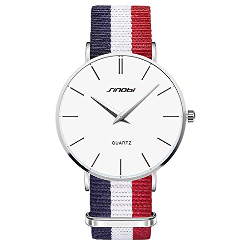 BOFUTE Men's Multicolor Sports Quartz Watches Nylon Strap Waterproof Simple Males Clock Gift Wristwatch For Boys(Blue White Red)