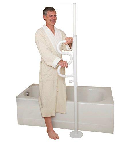 Stander Security Pole & Curve Grab Bar - Elderly Tension Mounted Transfer Pole + Bathroom Assist Grab Bar - Iceberg White by Stander (Image #5)'