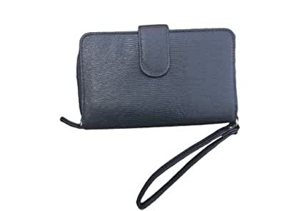 Black Organizer Wristlet Wallet for Women - Large Enough to Hold Phone