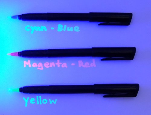 Set of 3 Invisible UV Blacklight Ink Marker Blue Red Yellow -