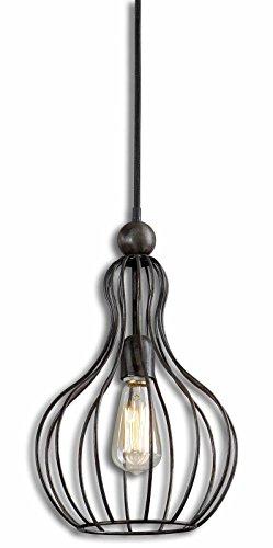 Bourret 1-Light Rustic Black Metal Pendant Lighting Fixture by Uttermost 21979 .#GH45843 3468-T34562FD798569