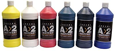 Chroma A>2 Lightfast Heavy Body Acrylic Paint Set, 1 L Bottle, Assorted Color, Set of 6