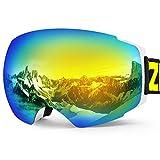 Zionor X4 Ski Snowboard Snow Goggles Magnet Dual Layers Lens Spherical Design Anti-Fog UV Protection Anti-Slip Strap for Men Women