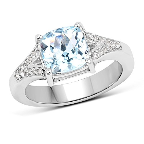 Sterling Silver Cushion Cut Blue Topaz & Round White Topaz Bridal Engagement Ring (Size 7)