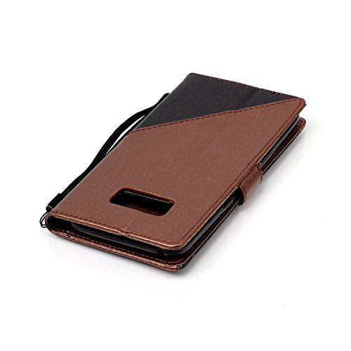 Funda Samsung Galaxy S8,Funda Libro Suave PU Leather Cuero impresión- EMAXELERS Carcasa Con Flip case cover,Funda Galaxy S8 gofrado diseño afortunado del trébol Flip case cover,wallet Case para Galaxy B Hit Color:Brown and Black