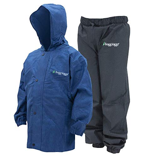 Frogg Toggs Polly Woggs Waterproof Breathable Rain Suit, Youth, Blueberry, Size Medium ()