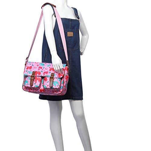 Miss LuLu Schultaschen Wachstuch Crossbody Öl-Stoff-Umhängetasche mit Drucken Unisex (L1107-Elefant/Pink,) L1107-Elefant/Pink