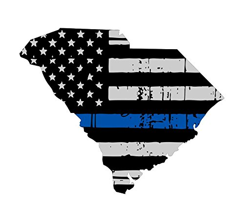 South Carolina tattered thin blue line us flag honoring our men & women of law enforcement car symbol sticker decal die cut vinyl window computer - Made and Shipped in USA
