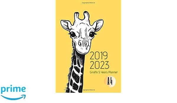 2019-2023 Five Year Planner A4 Giraffe Goals Monthly ...