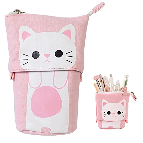iSuperb Transformer Stand Store Pencil Holder Canvas+PU Cartoon Cute Cat Telescopic Pencil Pouch Bag Stationery Pen Case Box with Zipper Closure 7.5 x 4.9 x 3.0inch/4.1x 3.0inch -
