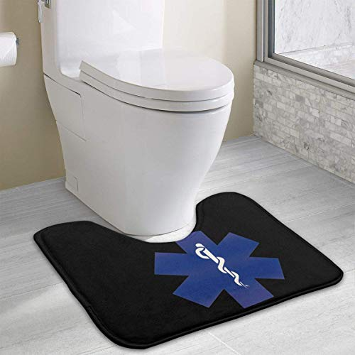colory EMT Logo Toilet Carpet Anti-Slip Contour Bath Rug Carpet Mat for Toilet Nonslip Toilet Floor Mat 19.2″x15.7″