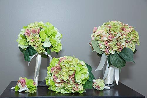 Pave Wedding Designs Sweet Package #1, 6-Piece Hydrangeas Wedding Silk Flowers Set - Bride and 2 Bridesmaid Bouquets, Groom and 2 Groomsmen Boutonniere