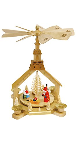 ISDD German christmas pyramid Santa giving out X-mas presents, height 27 cm/11 inch, original Erzgebirge by Richard Glaesser Seiffen