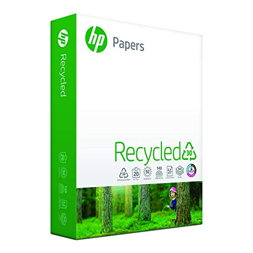 HP Printer Paper, Recycled 30% Paper, 8.5 x 11 Paper, Letter Size, 20lb Paper, 92 Bright, 1 Ream / 500 Sheets (112100R) Acid Free Paper