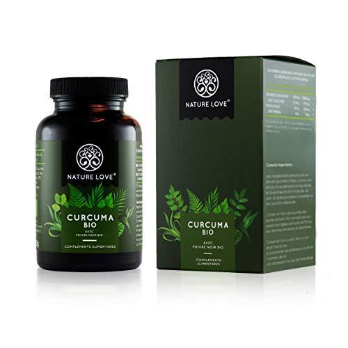 Curcuma Bio capsules – 2150 mg par dose quotidienne. 240 capsules véganes. Testé en laboratoire & certifié bio. Sans stéarate de magnésium. Dosage élevé, végan, fabriqué en Allemagne