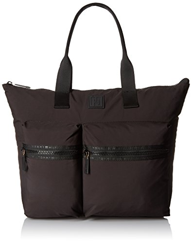 Tommy Hilfiger Sport Nylon Large Tote Top Handle Bag, Black, One Size