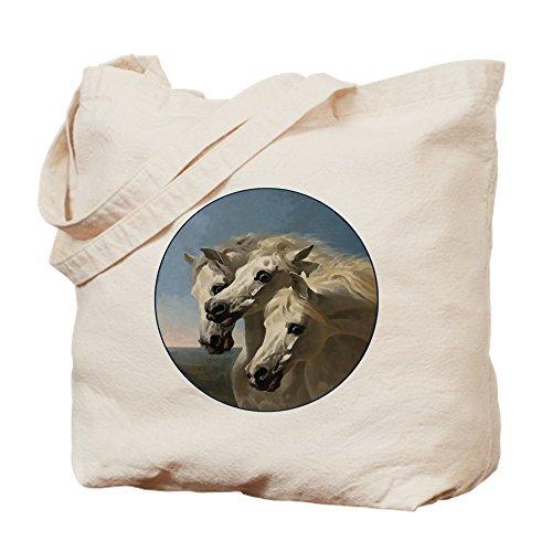 CafePress White Arabian Horses. Natural Canvas Tote Bag, Cloth Shopping Bag