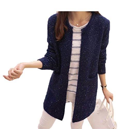 Masterein Femmes Printemps/Automne Mid Length Sweater Cardigan  Manches Longues Manteau en Laine corenne Slim Pocket Loose Knit Sweater Coat Marine