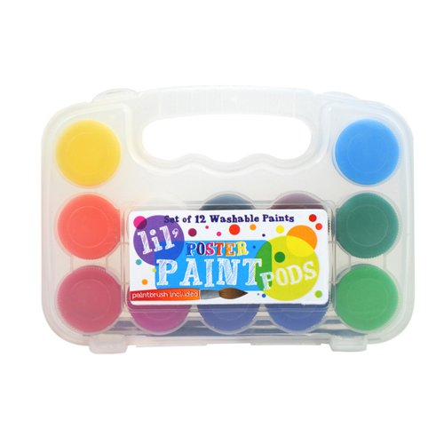 OOLY, Lil' Paint Pods Poster Paint with Brush, Set of 12 (126-1)