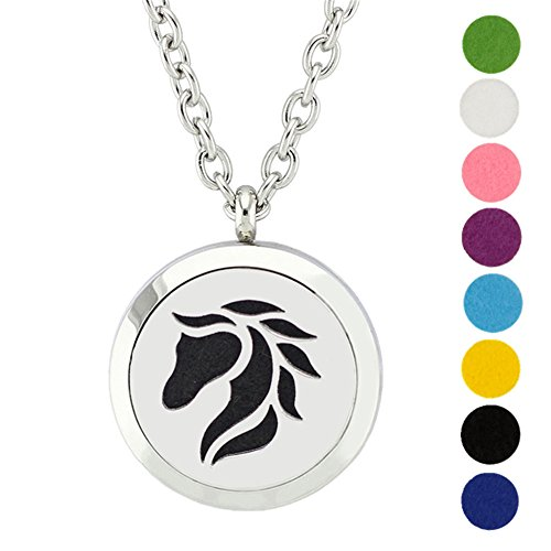 """Price comparison product image Horse Essential Oil Diffuser Necklace Stainless Steel Aromatherapy Locket Round Pendant with 24"""" Chain + 8 Refill Pads"""