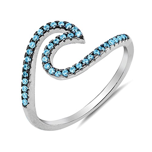 Ocean Wave Cubic Zirconia Ring - Simulated Birthstone Cubic Zirconia Wave Ocean Tide Ring Sterling Silver Size 7 -BlueTopaz