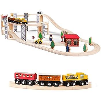 Amazon Com Melissa Amp Doug Wooden Railway Set Vehicles