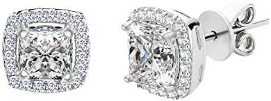 Sterling Silver Asher Cut Halo Cubic Zirconia Post Earring