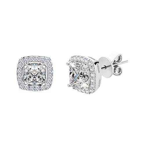SPECIAL OFFER Sterling Silver Asher Cut Halo Cubic Zirconia Post Earring (White Gold) (Cupid Bow And Feathers)