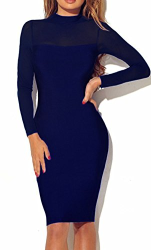 Lady Solid Urbane Dresses See Though Elegant Classic Sexy Office Dress for Women