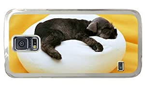 Hipster Samsung Galaxy S5 Case free shipping puppy sleep pillow PC Transparent for Samsung S5