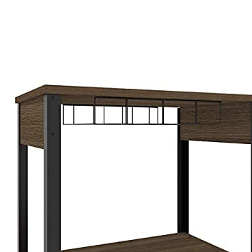 TUHOME Magnum Collection Free Standing Bar Cabinet Wine Cabinet Storage Cabinet with Steamware Wine Glass Rack 16 Wine Bottle Rack 2 Shelves and 1 Cabinet with Dark Weathered Oak Finish
