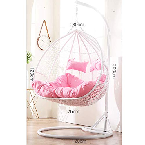 - DITI White Rattan Hanging Swing Chair Hanging Chair cradl Chair,Stand+Cushion+Cover,2people Capacity