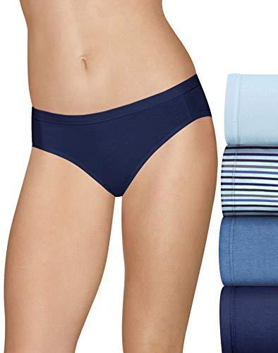 Hanes Ultimate Women's Cotton Stretch Cool Comfort 4-Pack Bikini Panties, Blue, 7