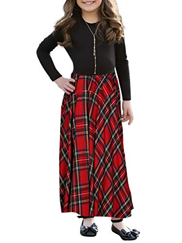 ZESICA Girl's Summer Short Sleeve Floral Printed Empire Waist Long Maxi Dress with Pockets (Black Dress Sleeve Empire In Short)