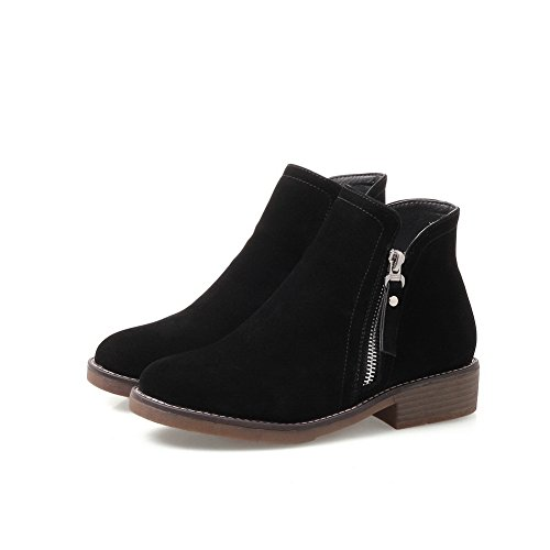 Black Novelty amp;N Pumps DKU01889 Womens Manmade Pumps Bootie Shoes Urethane Low Shoes Zip Closed Heel Waterproof Warm Lining A Toe AN Outdoor 6q5w11