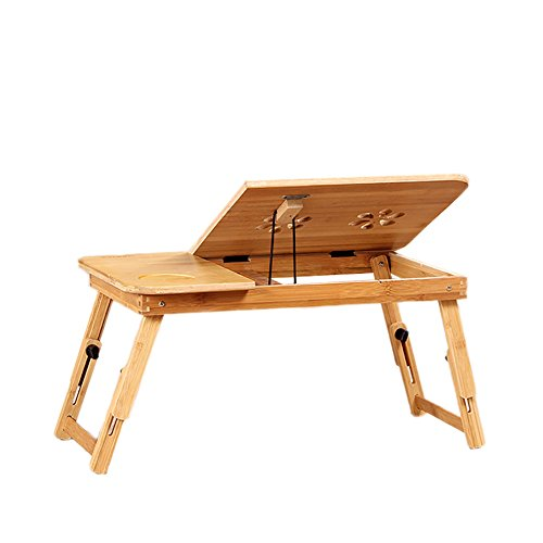 Folding Table Bamboo Computer Desk Collapsible Dorm Room Portable Tablet Radiating No Drawer Work Game (Size : 5030cm) by Folding Table
